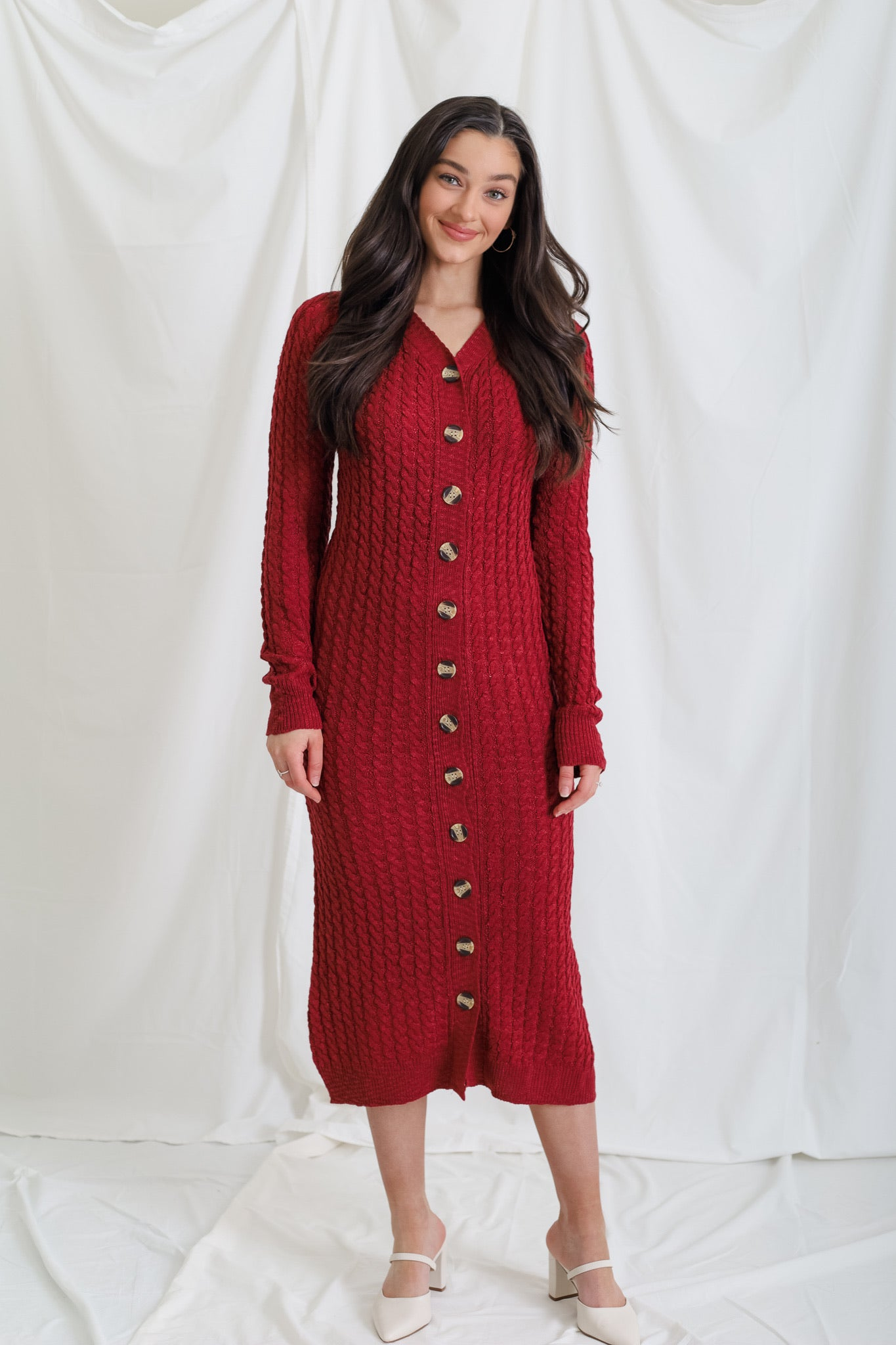 Cozy To The Max Cable Knit Sweater Dress - Maroon