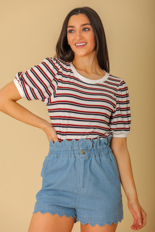 Blended Colors Short Sleeve Striped Top - Tops - Wight Elephant Boutique