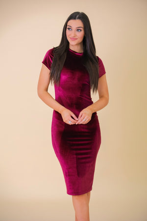 Softly Subtle Velvet Bodycon Midi Dress - Red - Dresses - Wight Elephant Boutique