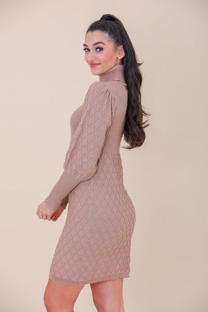 Gingerbread Textured Sweater Dress - Dresses - Wight Elephant Boutique