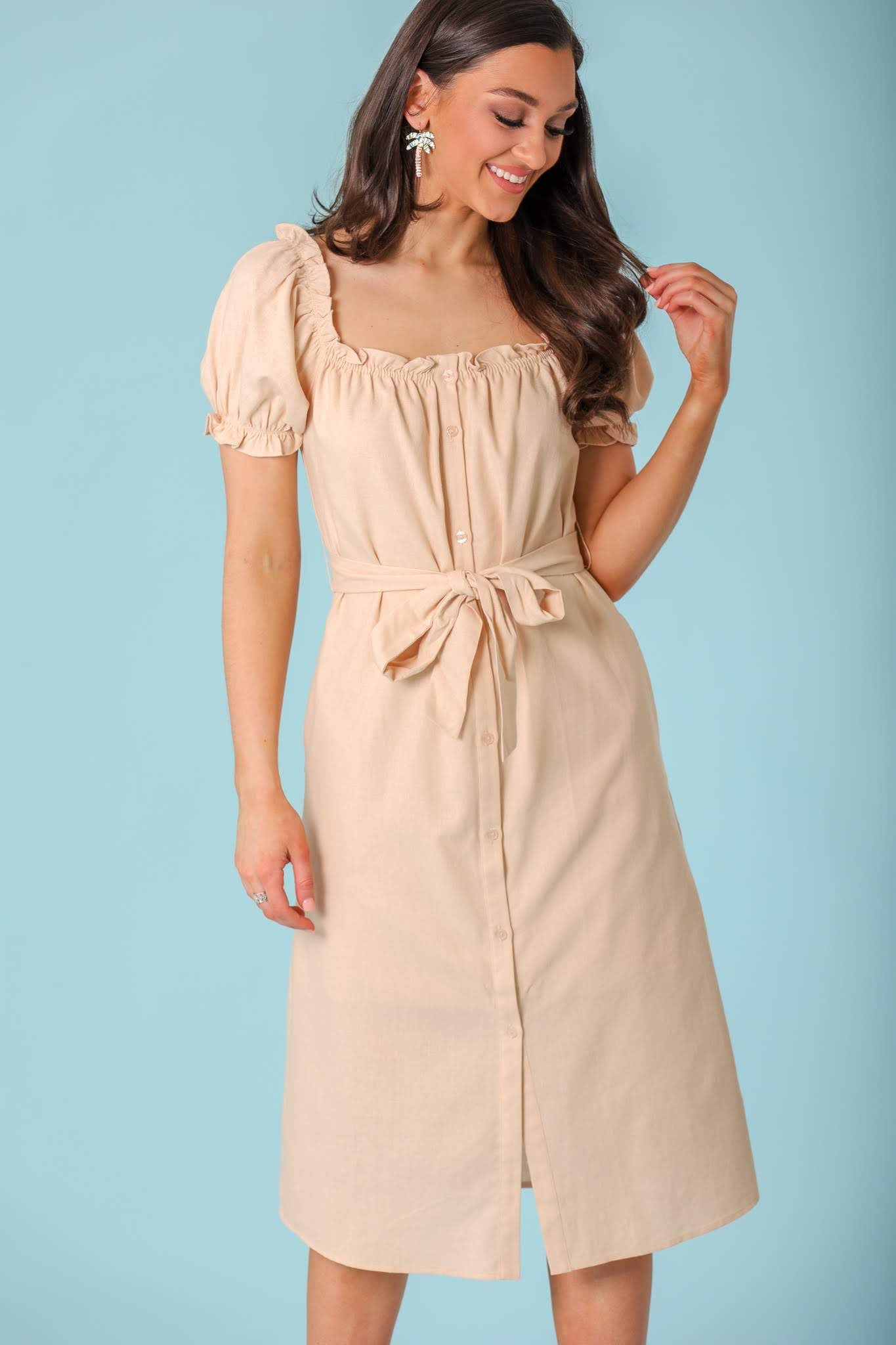 Walk in the Sand Button Down Puff Sleeve Midi Dress - Dresses - Wight Elephant Boutique