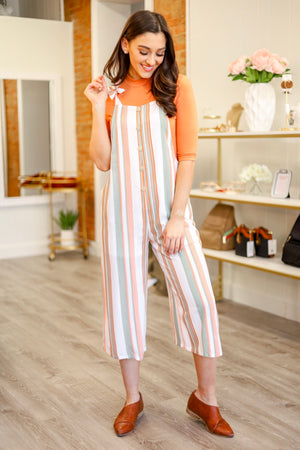 Knotted Together Striped Jumpsuit - Jumpsuits - Wight Elephant Boutique