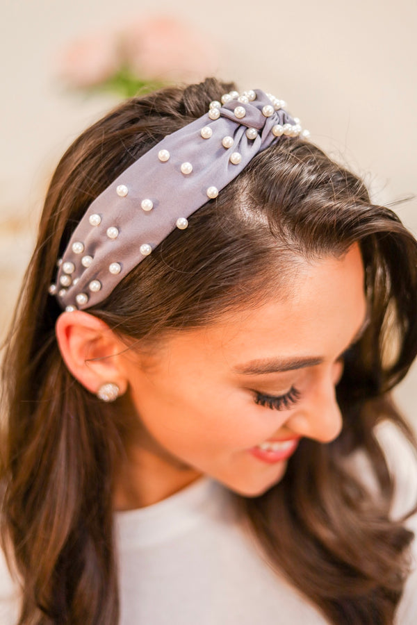 Crown Jewels Pearl Top Knot Headband - Silver - Hair Accessories - Wight Elephant Boutique