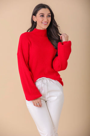 Favorite Color Ribbed Mock Neck Sweater - Red