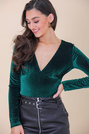 Deck the Halls Velvet Polka Dot Bodysuit - Tops - Wight Elephant Boutique