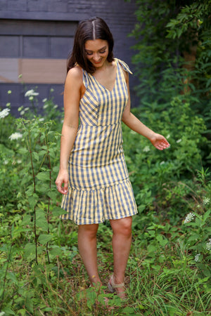 Breath of Fresh Air Gingham Dress with Tie Sleeves - Dresses - Wight Elephant Boutique