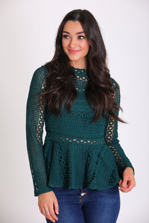 Good Cheer Lace Peplum Top