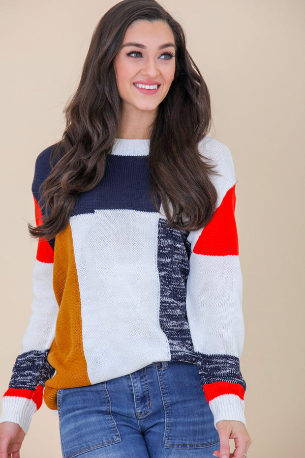 Nights in the City Colorblock Pullover Sweater - Tops - Wight Elephant Boutique