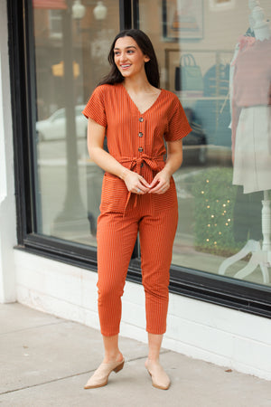 Ready for the Year Button Down Jumpsuit - Jumpsuits - Wight Elephant Boutique