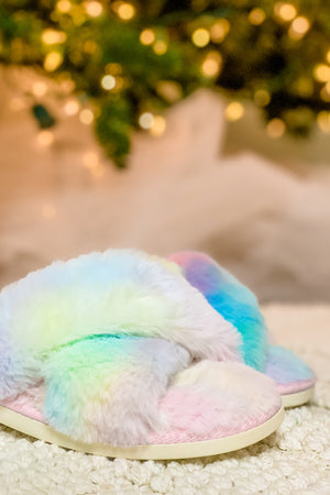 Easy Morning Faux Fur Slippers — Pink/Yellow