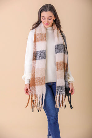 Wrapped Up Beige Plaid Scarf