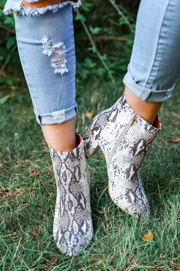 Band of Gypsies Andrea Boots - Snake Skin Pattern - Shoes - Wight Elephant Boutique