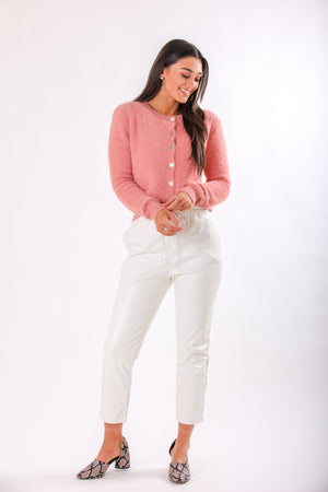 Sweet as a Rose Fuzzy Button Down Cardigan - Pink - Tops - Wight Elephant Boutique