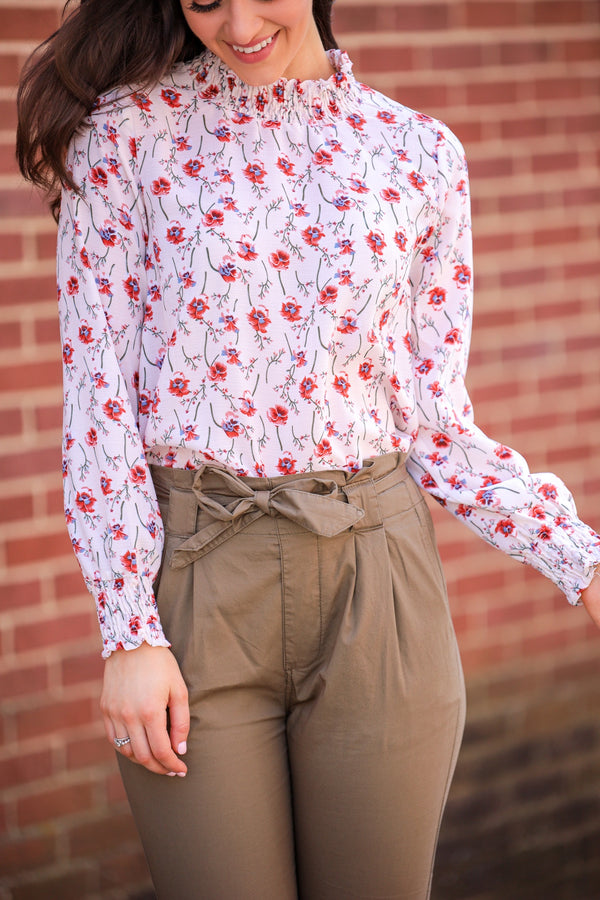 Blossom in Fall Floral High Neck Smock Top - Tops - Wight Elephant Boutique