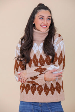 Sparkle and Shine Metallic Argyle Sweater - Tops - Wight Elephant Boutique
