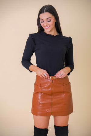 Powerfully You Faux Leather Mini Skirt - Skirts - Wight Elephant Boutique