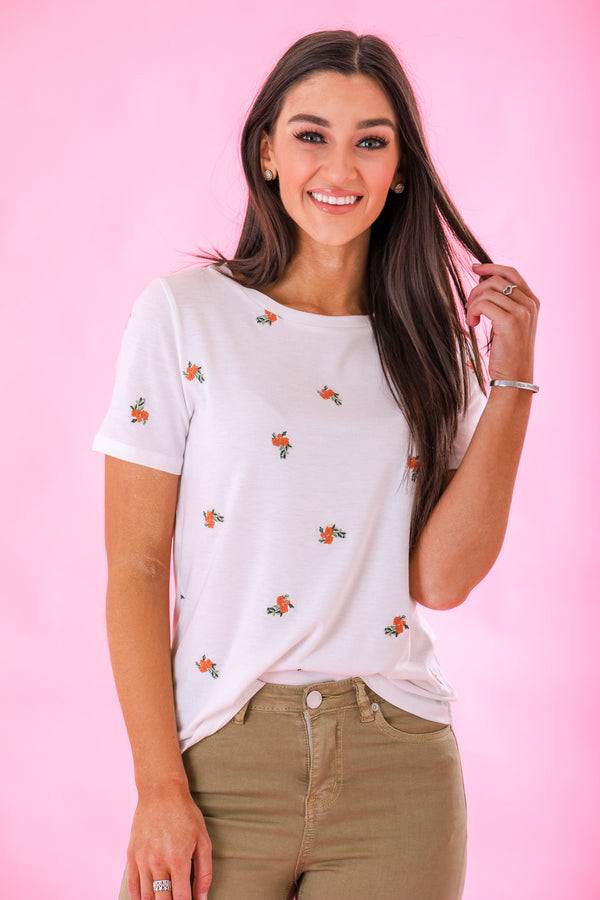 Bloom in an Unexpected Place Floral Embroidered Tee - Tops - Wight Elephant Boutique