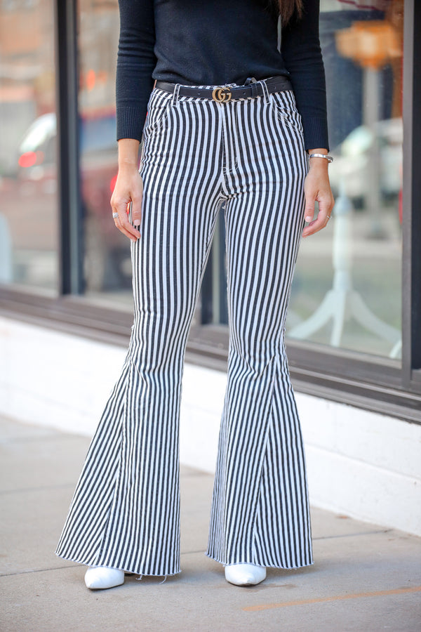 Walk the Line Striped Bell Bottom