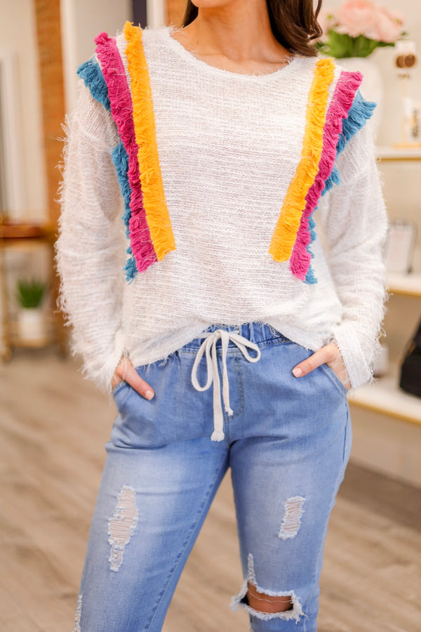 Move with the Wind Colorful Fringe Sweater