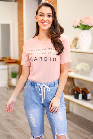 Walking With the Lord is My Cardio Tee - Tops - Wight Elephant Boutique