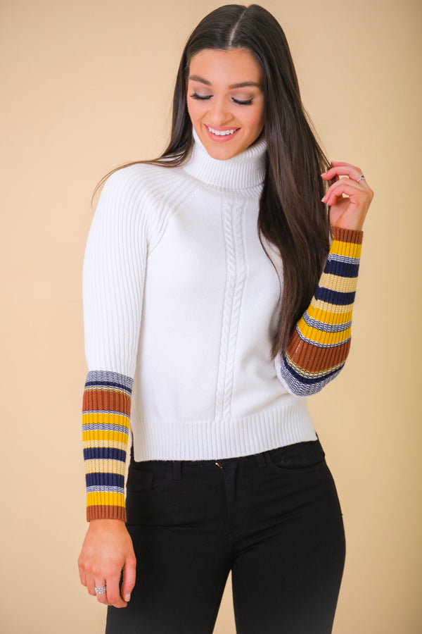 Show Your Stripes Contrast Sleeve Turtle Neck Sweater - Tops - Wight Elephant Boutique