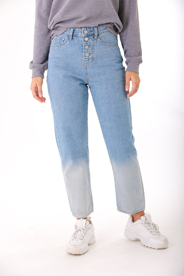 Shades of Blue Ombre Washed Denim Jean - Pants - Wight Elephant Boutique