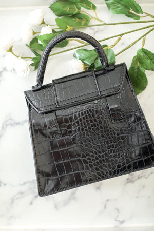 Everything I Need Small Snakeskin Belt Purse - Black - Handbag - Wight Elephant Boutique