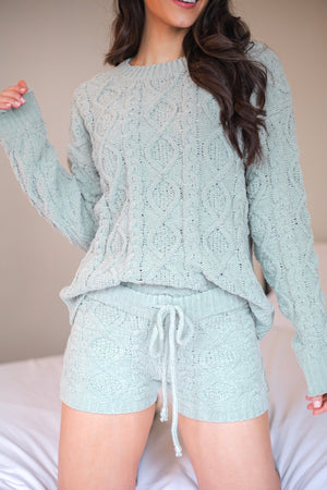 Hold Me Tighter Cable Knit Shorts - Sage
