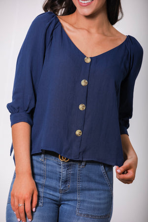 Pure and Simple Tie Sleeve Top - Navy