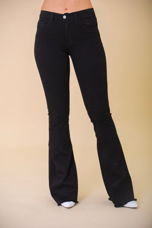 Rough Around the Edges Black Flare Jeans