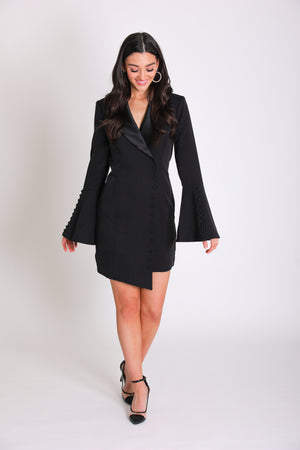 Josephine Tuxedo Dress - Black - Dresses - Wight Elephant Boutique