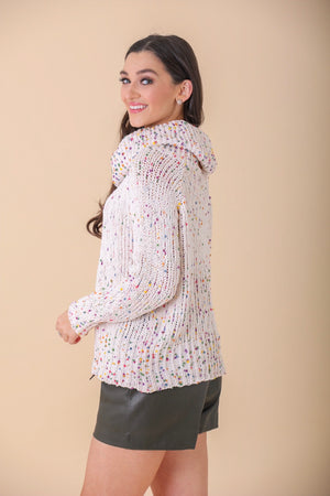 Confetti Cowl Neck Popcorn Sweater