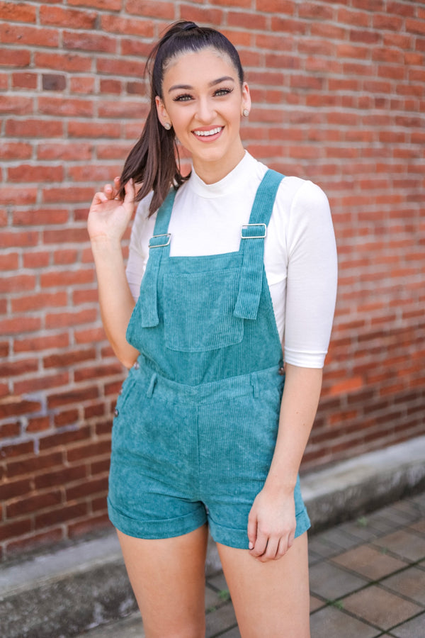 Changing Seasons Corduroy Overall Romper - Shorts - Wight Elephant Boutique