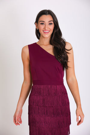 Camilla One Shoulder Fringe Midi Dress