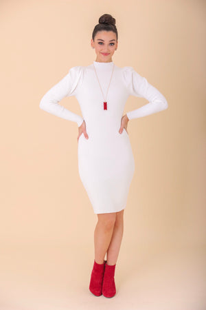 Veiled in White Mock Neck Sweater Dress - Dresses - Wight Elephant Boutique