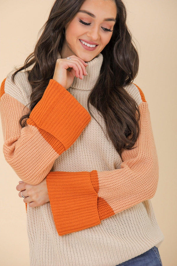All Around Style Turtleneck Sweater- Orange - Tops - Wight Elephant Boutique