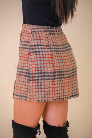 Anything But Plainly Plaid Fringe Mini Skirt