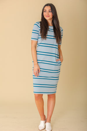 Ocean Foam Striped T-Shirt Dress - Dresses - Wight Elephant Boutique