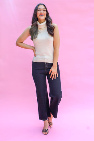 Button It Up Cropped Pant- Black - Pants - Wight Elephant Boutique