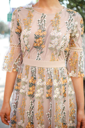 Bouquet of Wildflowers Embroidered Lace Midi Dress - Dresses - Wight Elephant Boutique