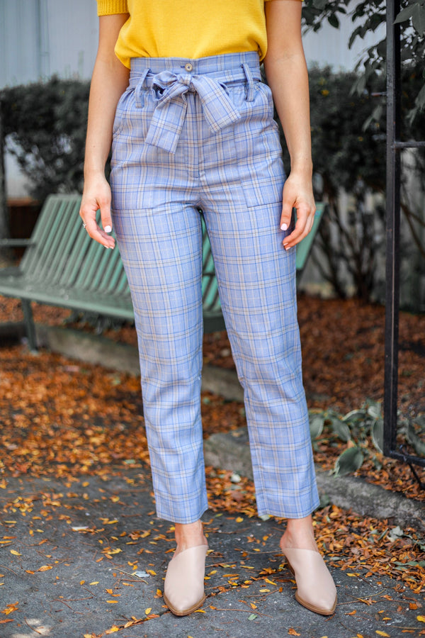 Subtle But Splendid Tie Waist Plaid Pant