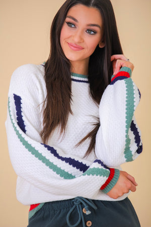 The World Is Waiting Multi Colored Stripe Textured Sweater