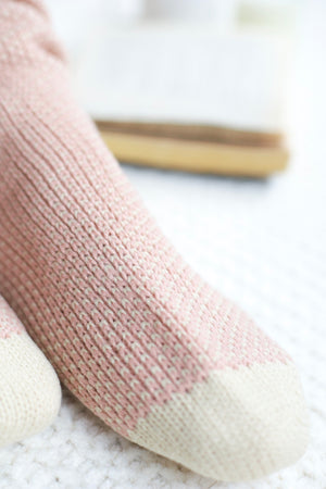 Knee High Knit Lounge Socks - Pink