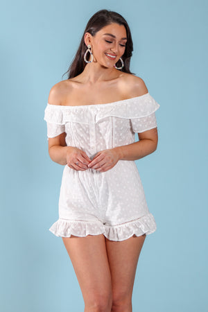 Country Breeze Off-the-Shoulder Romper - Rompers - Wight Elephant Boutique