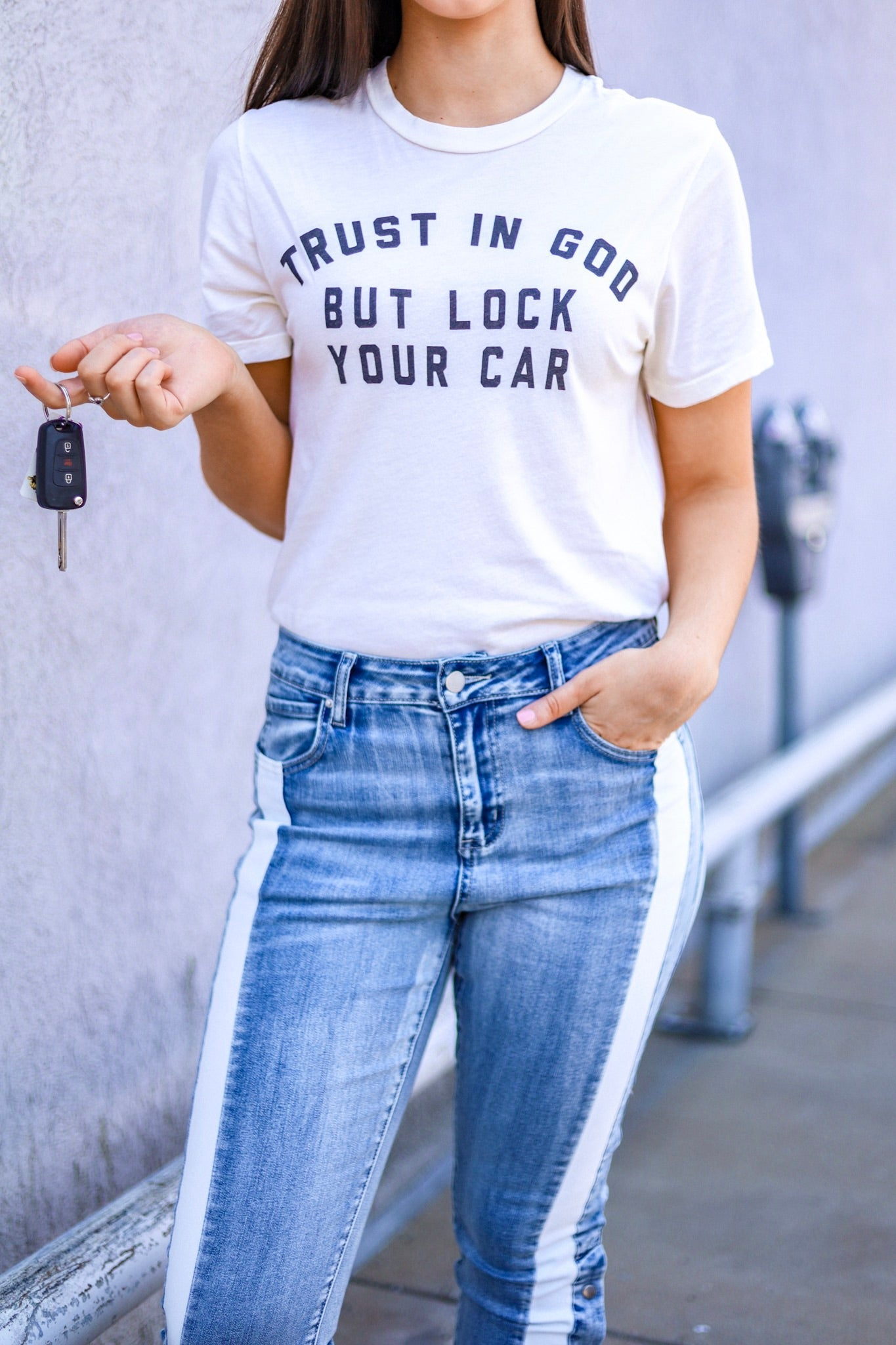 Trust In God But Lock Your Car Tee - Tops - Wight Elephant Boutique