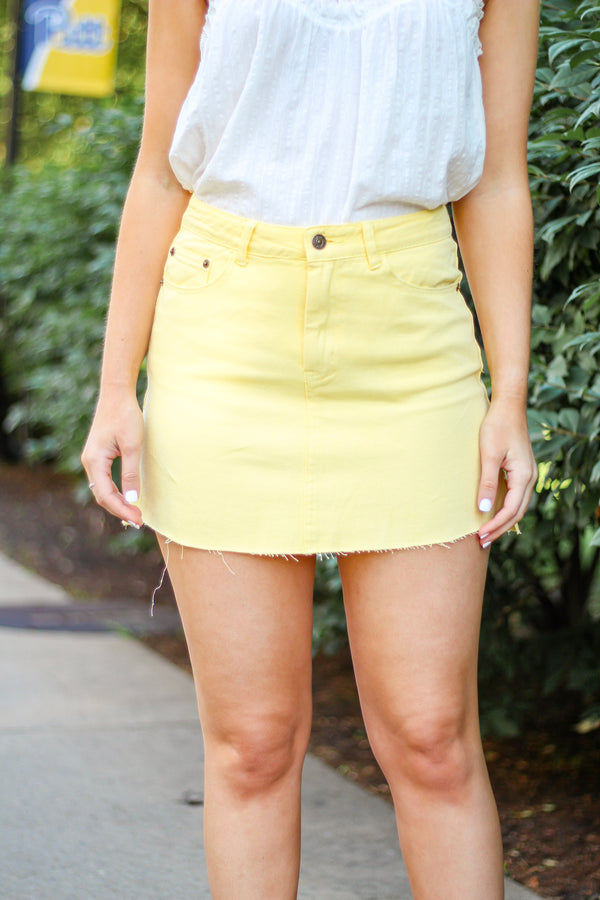 Be My Buttercup Yellow Denim Skirt - Skirts - Wight Elephant Boutique