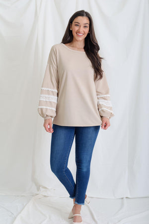 A Bit of Lace and Frill Tunic - Oatmeal