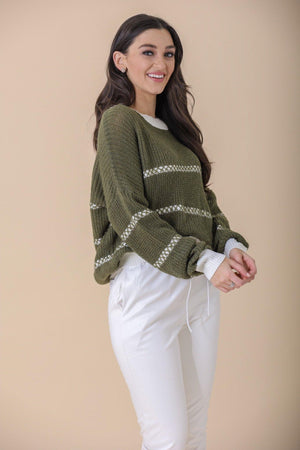 A Stitch in Time Stripe Knit Contrast Sweater - Tops - Wight Elephant Boutique