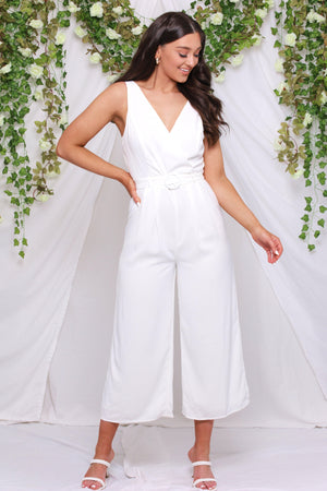 From This Day Forward Belted Jumpsuit - White