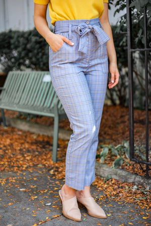 Subtle But Splendid Tie Waist Plaid Pant - Pants - Wight Elephant Boutique